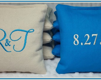 Wedding Cornhole Bags Personalized Date Couple Initials Set of 8 Turquoise and Cream