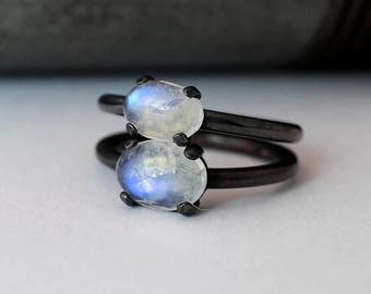 2 Moonstone Rings size 5 Blackened Silver AA Grade