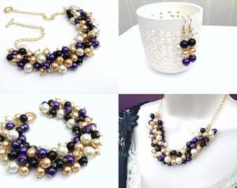 Purple Black Ivory Gold Jewelry Set, Matching Pearl Set, Pearl Beaded Jewelry, Bridesmaids Winter Wedding Theme, Everyday Chunky Jewelry