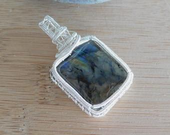 Square Labradorite Cabochon in Silver Wire Pendant Wire Wrapped Jewelry Medallion Scifi Some Flash Fantasy Pendant