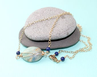 Chrysocolla and Lapis Necklace Gold Chain Necklace