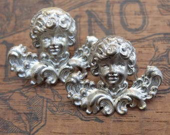 Vintage Metal Cherubs Cupid Head Decoration Salvage Supply