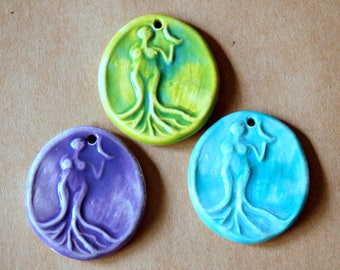 3 Handmade Ceramic Beads- Venus Holding the Moon Pendants in Spring Colors - Goddess Charms in Lavender  Spring Green and Aqua