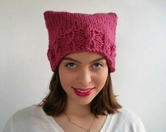 Pink Pussy Hat Handknit, Chunky Wool Blend