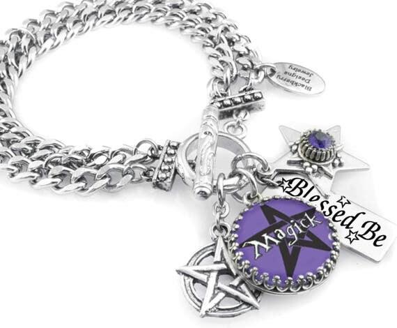 Wiccan Charm Bracelet, Wiccan Jewelry, Celtic Jewelry, Pentagram Jewelry in stainless steel