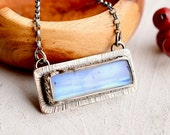 SOLD!--------DEPOSIT---------------Rectangular Moonstone Pendant, Rainbow Moonstone Necklace