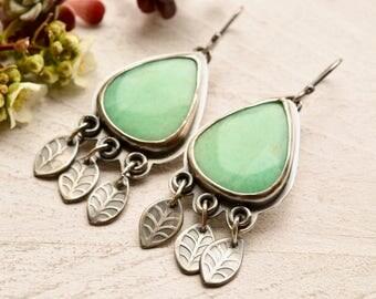Modern Silver Earrings, Chrysoprase Earrings, Mint Green Stone Earrings, Leaf Earrings, Hand Stamped Metalwork Earrings, Silver and Stone