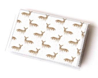 NEW Handmade Vinyl Card Holder - Deers on White  / card case, vinyl wallet, women's wallet, small wallet, deer, woodland, pretty, blue, gift