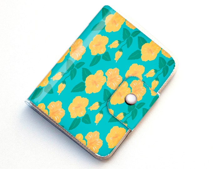 Vinyl Passport Case - Tropical Summer3/ traveller, floral, yellow, beachy, summer, vacation, passport, vinyl, gift, woman's, wallet, case
