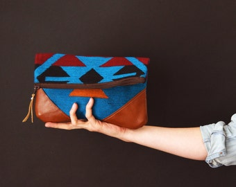 Fold-Over Clutch - Blue/Red