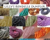 Cyber Monday SALE - Natural Gemstone Beads, Rondelle Sampler, 10 Sets of 20 Rondelles, You Choose the stones! Tiny Gemstones, Mixed Lot, Fac