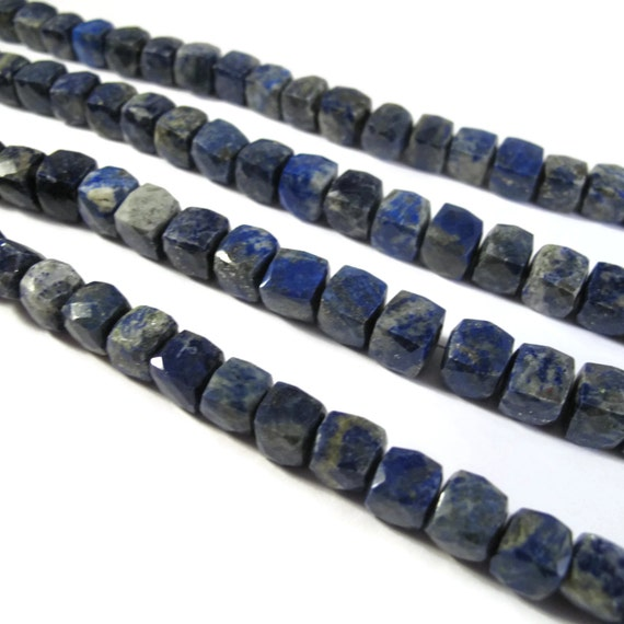 Lapis Faceted Cube Beads, 4 Inches of Natural Gemstone Beads, Blue Gemstone Cubes, 7mm, Jewelry Supplies (S-Lap1b)
