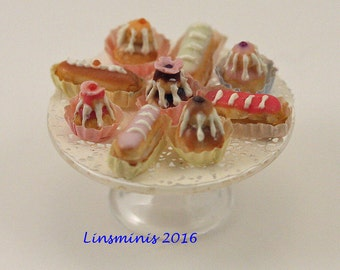 12th scale handmade miniature Iced Pastries.
