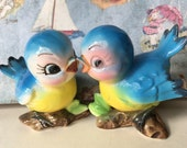 Vintage Norcrest Bluebirds On A Branch Salt and Pepper Shakers Antique Collectibles or Cake Toppers