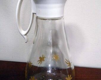 Vintage Syrup Bottle /Retro Glass Design /Log Cabin Pancake Promo  Syrup Dispenser