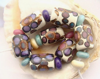 7 Floral Barrel Beads and 10 Spacers Handmade Lampwork