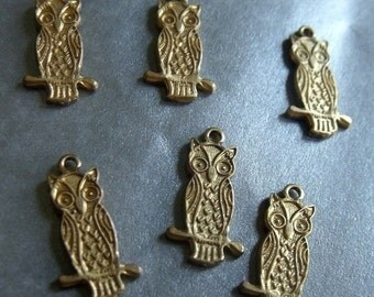 ON SALE 18% off Wise Owl Perched Brass Charms 15X6mm 6 Pcs