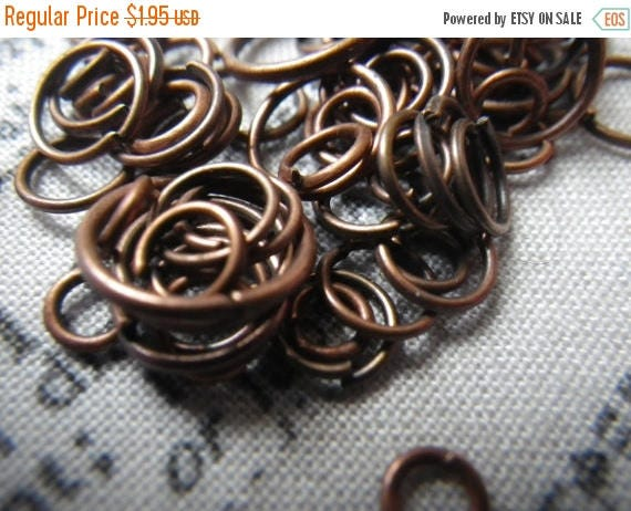 On Sale 25% Off Red Copper Plated Jump Ring Mix 5-10mm 1 ounce about 200 pieces