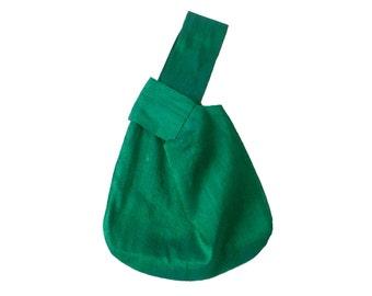 Small evening bag, bridesmaids bag, green shantung bag, Japanese knot bag, emerald green bag, wedding wristlet, clutch alternative, handbag