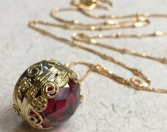 Garnet pendant, Labradorite Golden brass necklace, birthstones pendant, two sides pendant, floral energy ball, boho - Neverland NK2000-3