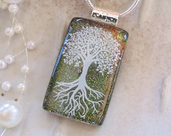 Tree of Life, Dichroic Fused Glass Pendant, Glass Jewelry, Enamel, Green, Necklace Included, A12