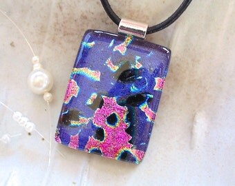 Purple Necklace, Dichroic Fused Glass Pendant, Purple, Pink, Black, Necklace Included, A11