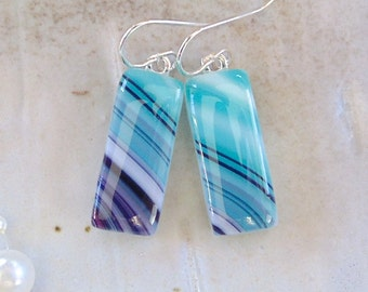 Fused Art Glass Earrings, Dangle, Sterling Silver, Purple, Turquoise, A5