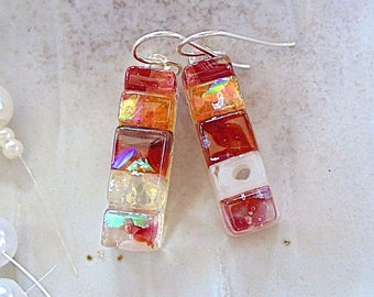 Orange, Pink, Red, Amber, Dichroic Earrings, Glass, Fused Jewelry, Dangle, Sterling Silver, Murrini, One of a Kind, A12