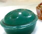 Reserved - Tiny Green Jadite Flower Frog