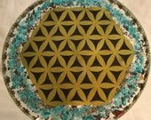 Beautful Flower of Life Orgone Charging Plate