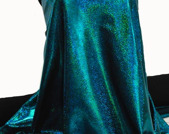 Mystique Spandex Sparkly Jewels Turquoise/black Stretch fabric.... cheer bows... dance skate gymnastics twirl  pageant  BTY