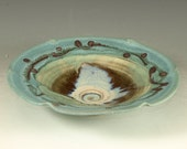 Small Ceramic Bowl- fluted in turquoise handmade stoneware pottery dish