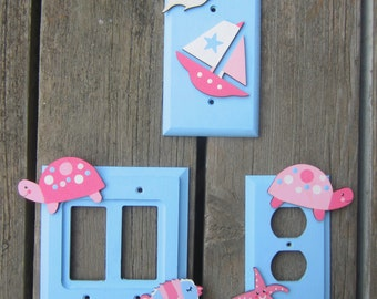 BEACH Girls Switch Plate Covers - Pink/Blue - Original Hand Painted Wood