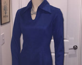 Vintage Heartfull Lady's Blue Mini Mod Dress