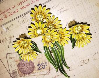 Vintage Sun Flower Bouquet Brooch and Earring Set