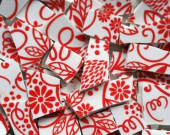 Mosaic Tiles--Red Chintz--60 Tiles
