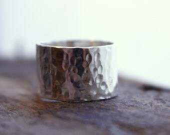 Wide Sterling Silver Ring Band - Sterling Silver Ring, Wide Band Ring