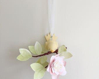 Watercolor petite tree limb baby mobile