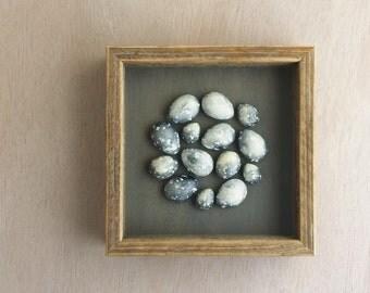 Grey speckled plaster egg framed wall art: handmade in Australia by Kuberstore