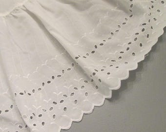 Vintage Eyelet Dust Ruffle - King Size Bed Skirt - Creamy White Eyelet Bedding - Vintage Bed Linens