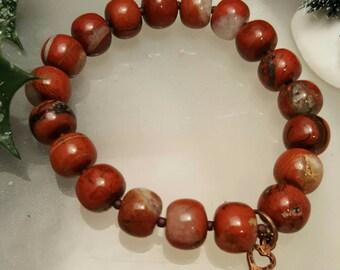 Red Jasper stretchy charm, heart key bracelet.