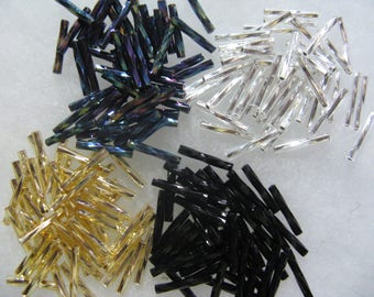 200 Assorted Color Bugle Gunmetal Purple Black Silver Gold Glass 1/2 Inch Twisted Bugle Beads