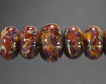 Lampwork Glass Boro Bead Set of 9 With Focal Bead Handmade Juba Glass Caramel Sparkle 36a