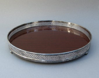 Silver Plate & Formica Gallery Tray with Pierced Openwwork Border 1960s Vintage Round Faux Wood Tray with Hallmark