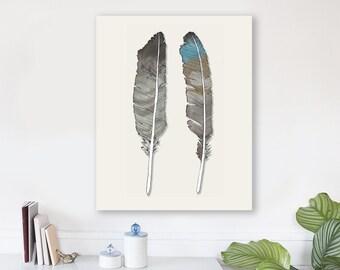 large modern wall art on canvas, minimalist fine art, colorful modern wall art, bird feather wall art, woodland nursery art - Birds of Prey