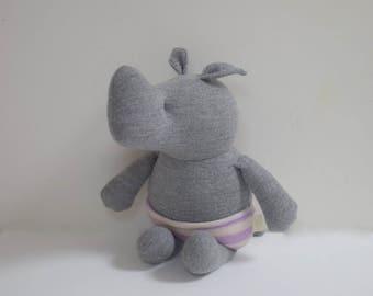 Handmade Rhino stuffed small animal OOAK grey Rhino rag doll eco toy upcycled Merino wool sweaters soft plush Rhino bubynoa small rhinos