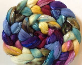 Hand Dyed roving for spinning or felting 3.6ozs 19micron merino silk 50/50