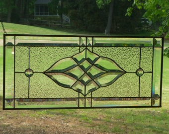 Beautiful Clean,Clear Stained Glass & Beveled Window Transom-Handmade by me!
