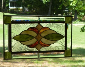 Earthy Colors,Green, Ivory,  & Brown, Stained glass and Beveled Panel