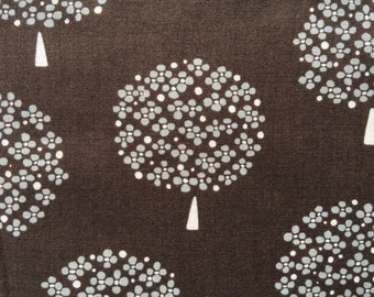 Trees in coffee brown and gray Japanese cotton fabric